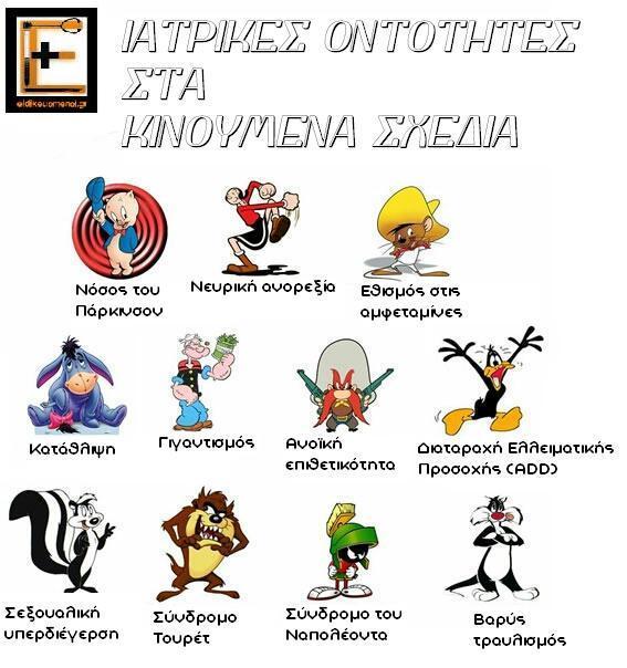 ιατρικές οντότητες στα κινούμενα σχέδια eidikeuomenoi.gr