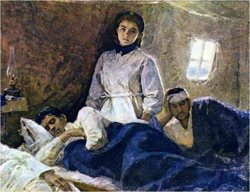 πίνακας νοσηλεύτριας που φροντίζει τραυματίες