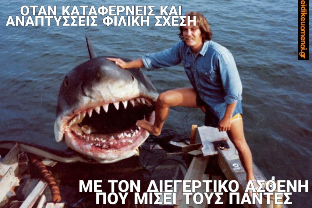 Καρχαρίας Jaws: όταν καταφέρνες και αναπτύσσεις φιλική σχέση με τον διεγερτικό ασθενή που μισεί τους πάντες